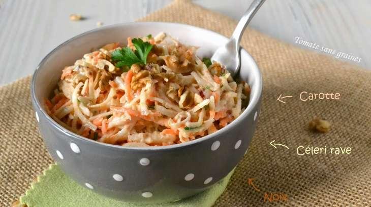 salade de c leri rave et carotte aux noix recette par tomate sans graines. Black Bedroom Furniture Sets. Home Design Ideas