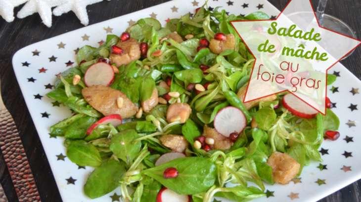 Salade ti de de m che au foie gras po l et grenade recette par turbigo gourmandises - Cuisiner un foie gras frais ...