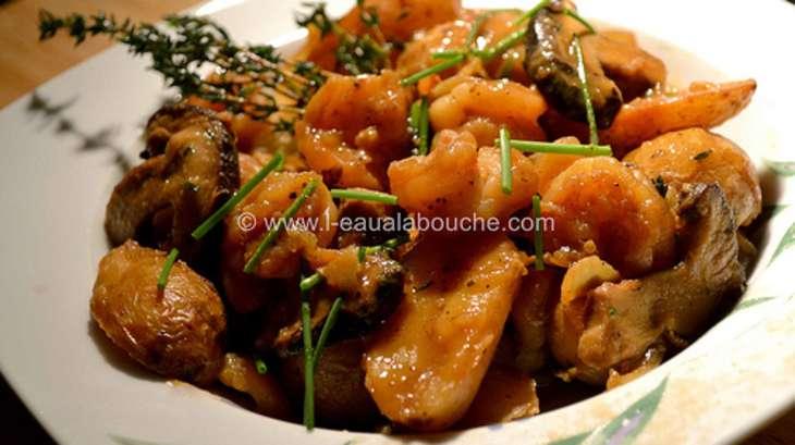 Crevettes Shiitake & Amandines au Vin Moelleux