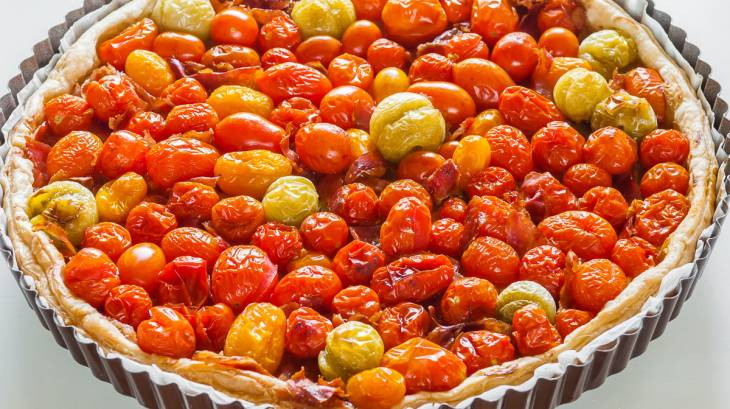 tarte aux tomates cerises et au jambon sec par kilometre 0. Black Bedroom Furniture Sets. Home Design Ideas