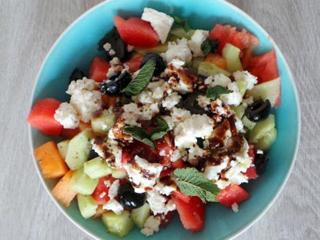 Salade d 39 t melon past que concombre et feta - Salade originale ete ...