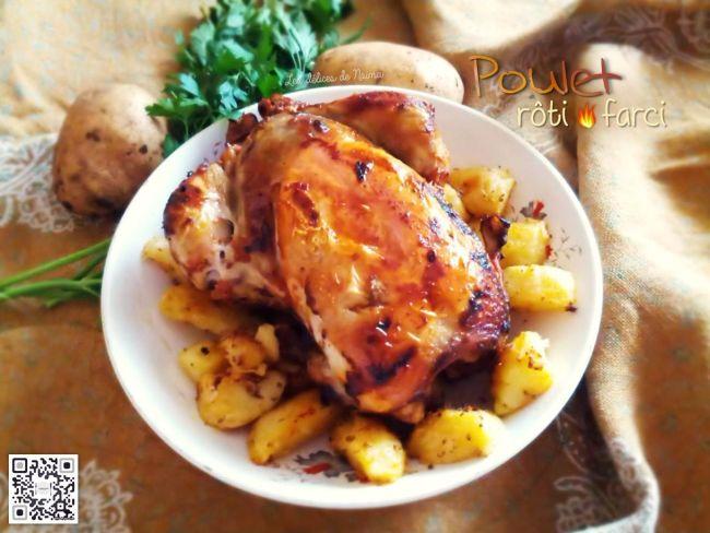 poulet r ti farci accompagn de pommes de terre au four par les d lices de na ma. Black Bedroom Furniture Sets. Home Design Ideas