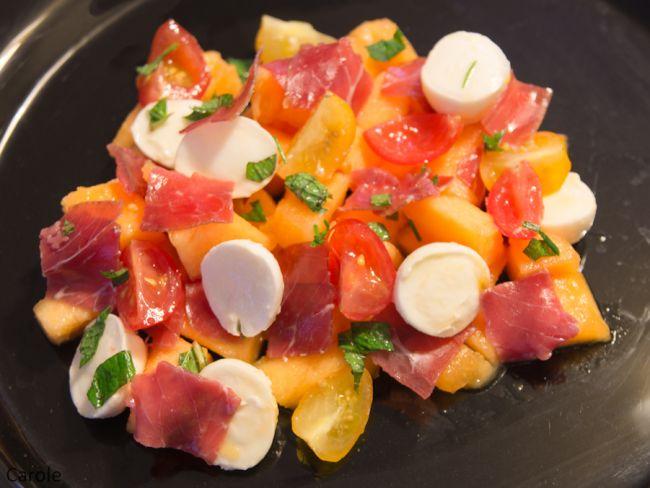 Salade De Melon Viande Des Grisons Mozzarella Et Menthe