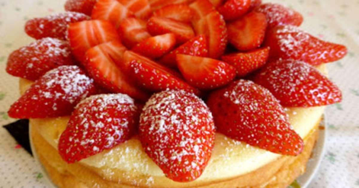 g teau au fromage blanc et aux fraises recette par les mets tiss s. Black Bedroom Furniture Sets. Home Design Ideas