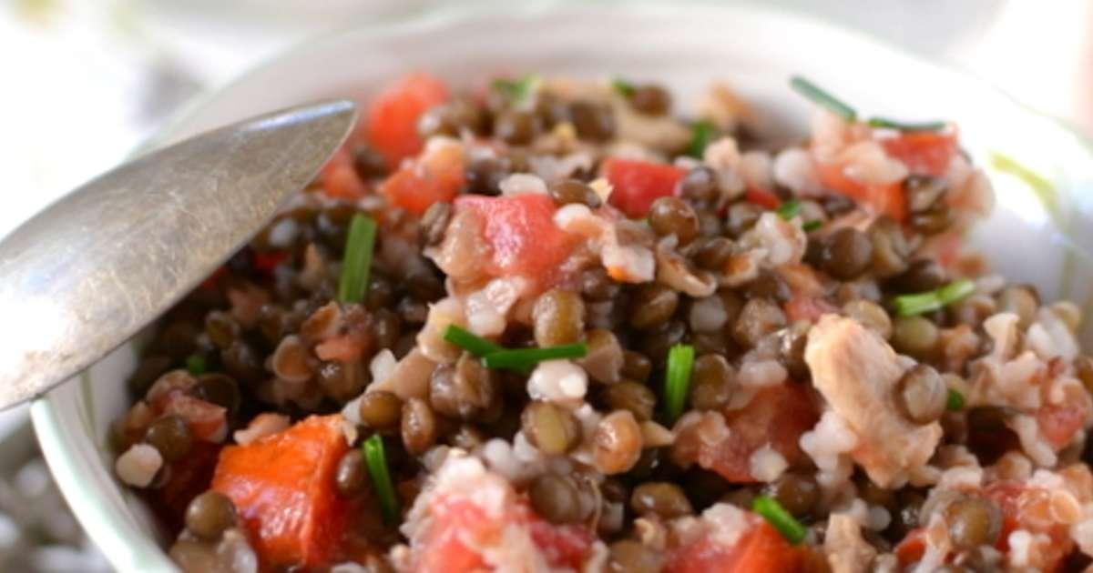 salade d 39 peautre et lentilles beluga au maquereau recette par tomate sans graines. Black Bedroom Furniture Sets. Home Design Ideas