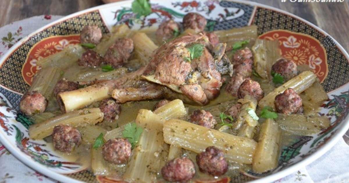 Tajine d 39 agneau aux cardons recette par sarah - Cuisiner avec un tajine en terre cuite ...