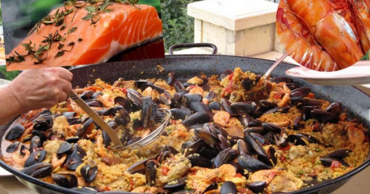 paella aux crevettes moules saumon chorizo recette par streetfood et cuisine du monde. Black Bedroom Furniture Sets. Home Design Ideas