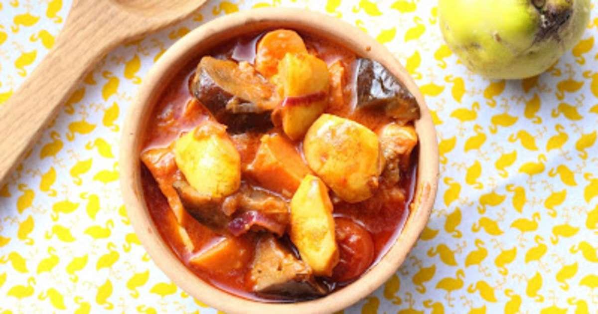 Coings mijotés avec des aubergines et des patates douces - Recette ...