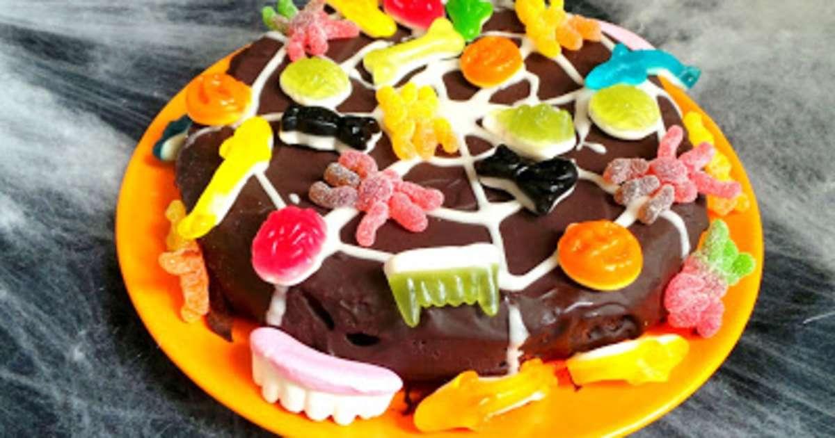 G teau au chocolat et aux bonbons toile d 39 araign e pour halloween recette par my culinary - Recette dessert halloween ...