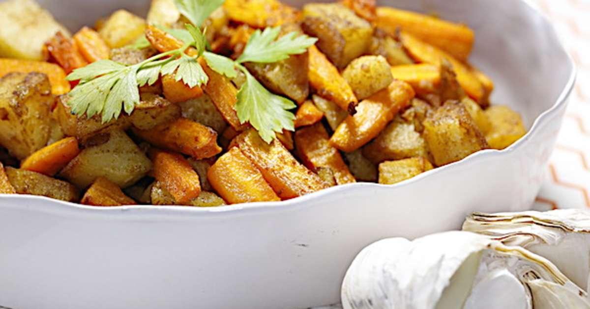 duo de carottes et pommes de terre r ties aux pices un accompagnement de f tes recette par. Black Bedroom Furniture Sets. Home Design Ideas