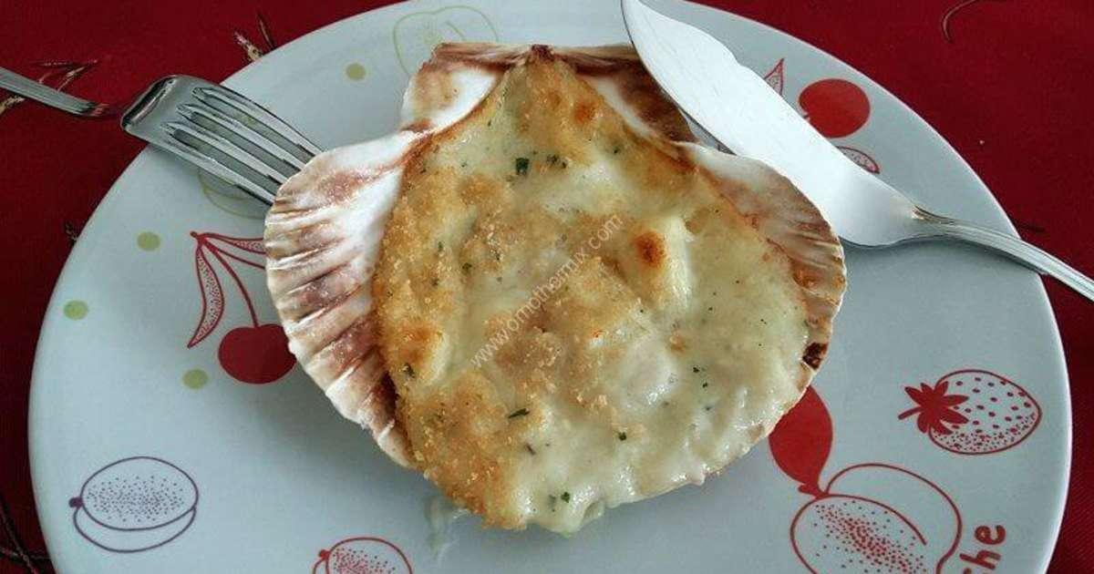 Coquilles saint jacques gratin es thermomix recette - Cuisiner des coquilles saint jacques ...
