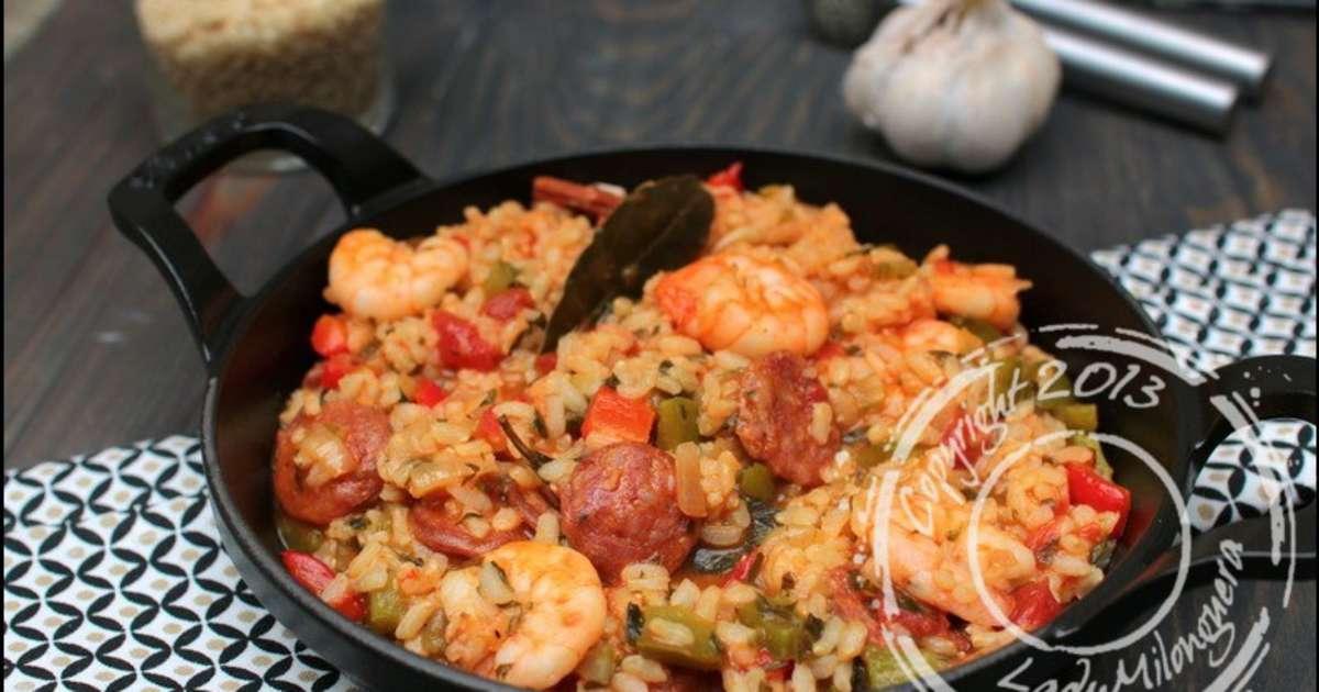 riz cr ole crevettes saut es et chorizo recette par ladymilonguera. Black Bedroom Furniture Sets. Home Design Ideas