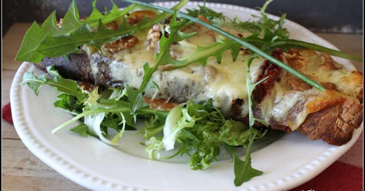 Tartines la mozzarella et aux tomates s ch es salade de pissenlit recette par - Cuisiner les tomates sechees ...