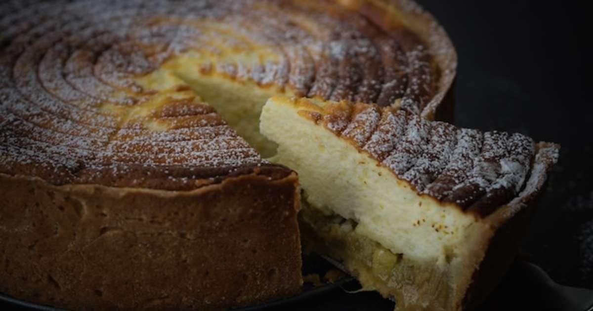 k sekuchen tarte au fromage blanc la rhubarbe je vais vous cuisiner recette par le la. Black Bedroom Furniture Sets. Home Design Ideas