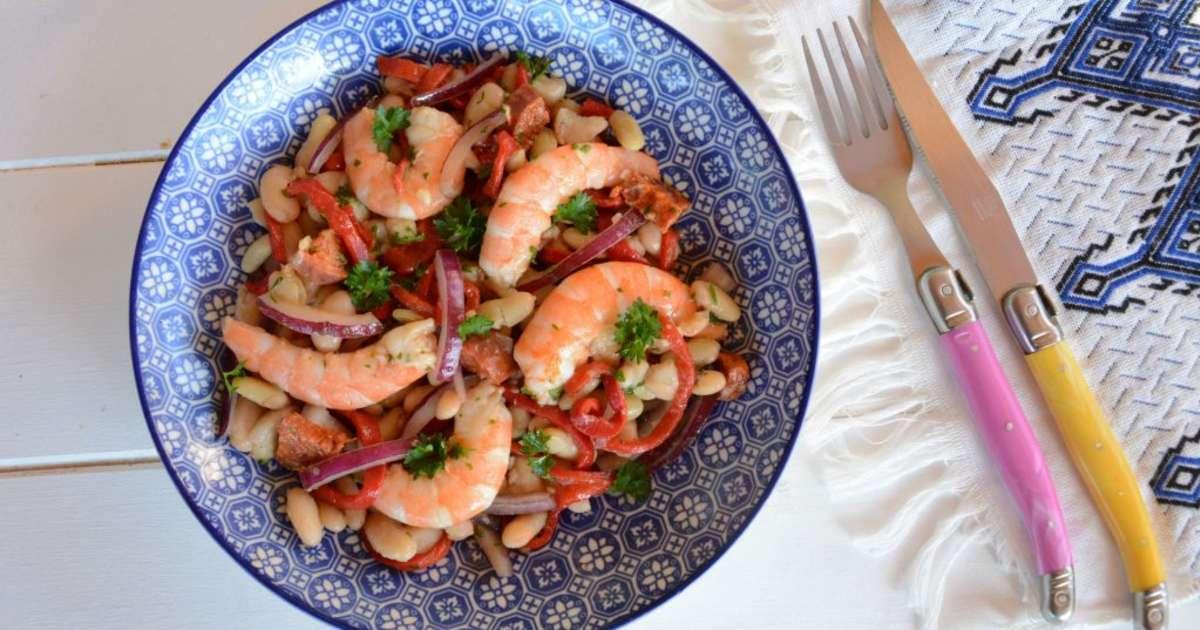 salade de haricots blancs l 39 espagnole crevette chorizo piquillos recette par flo au fil. Black Bedroom Furniture Sets. Home Design Ideas