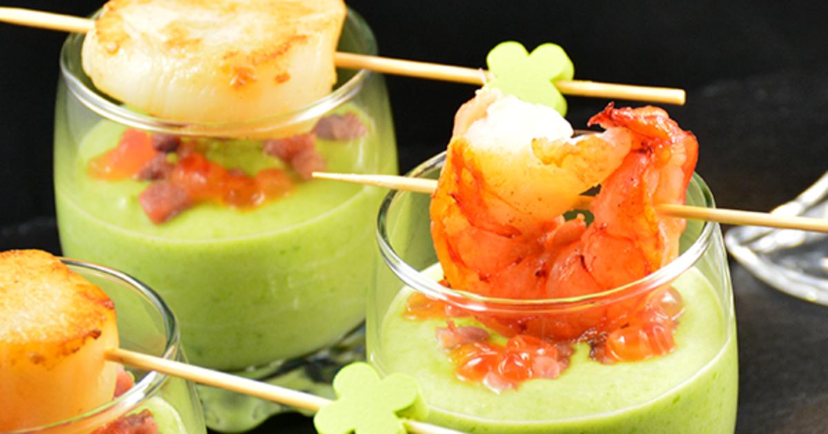 Velout ap ritif de petits pois et saint jacques recette - Comment cuisiner des petit pois en boite ...