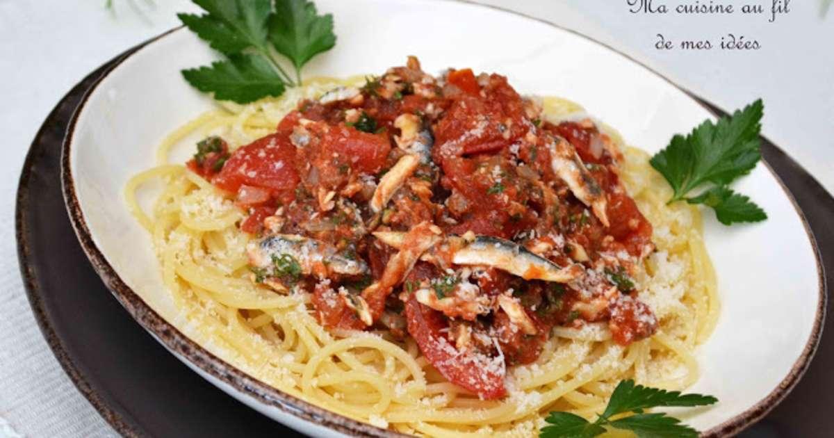 Spaghetti aux tomates fra ches anchois et persil plat recette par ma cuisine au fil de mes id es - Cuisiner les asperges vertes fraiches ...