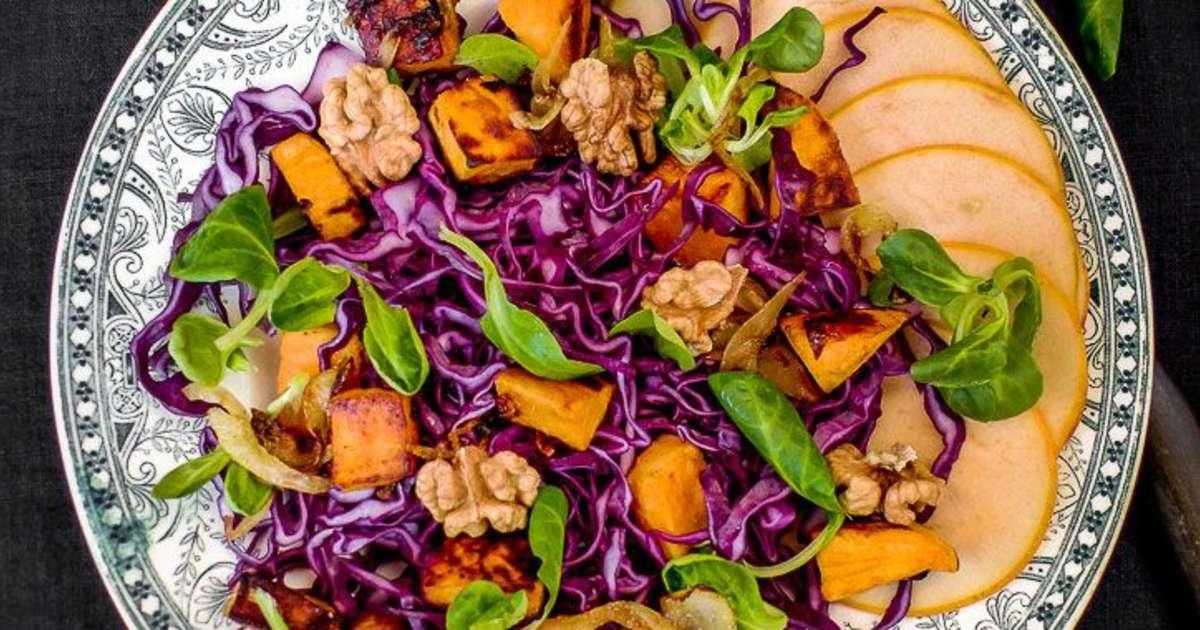 salade au chou rouge et patates douces pour l 39 automne recette par amande et basilic. Black Bedroom Furniture Sets. Home Design Ideas