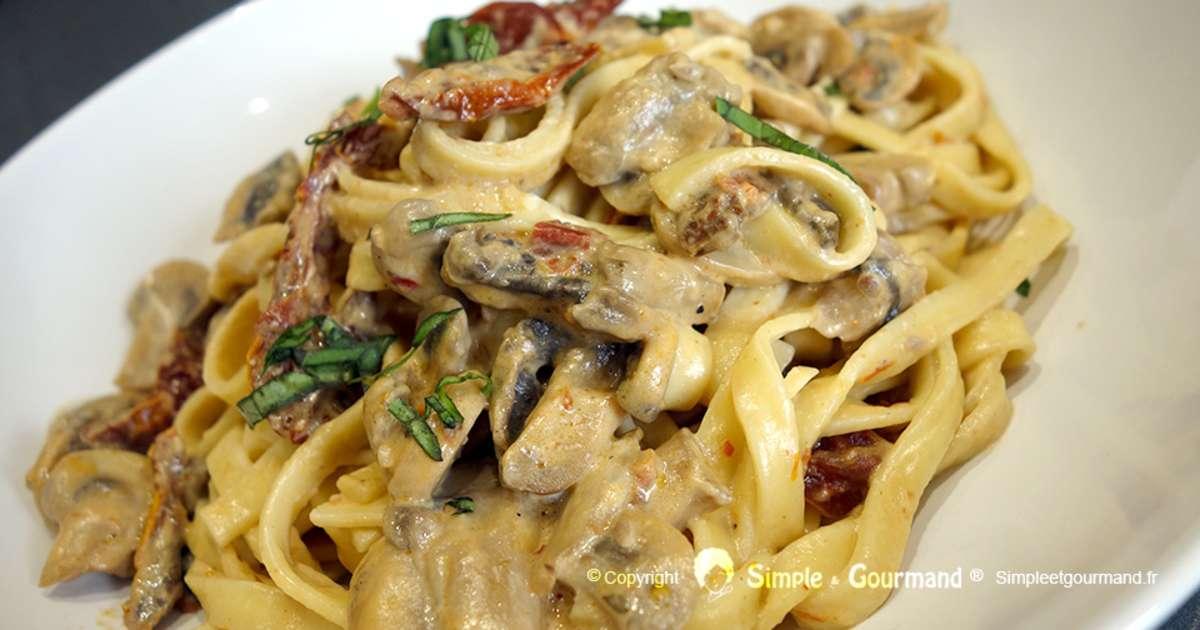 P tes cr meuses aux tomates s ch es et aux champignons - Cuisiner les morilles sechees ...