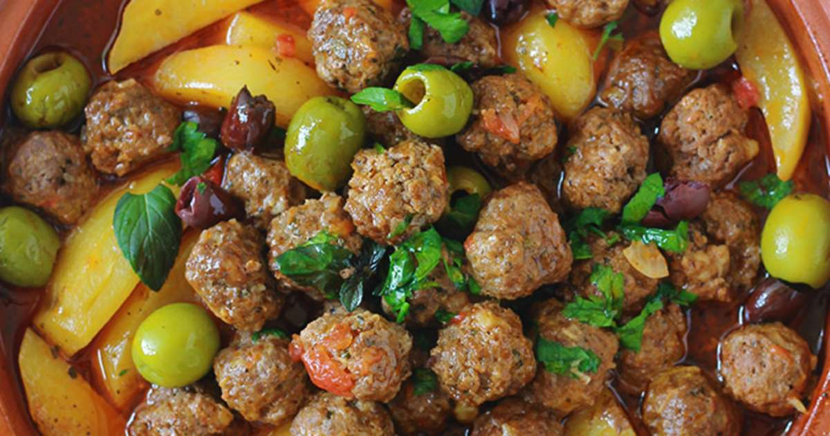 Tajine kefta de viande pommes de terre et olives sauce - Cuisine tunisienne tajine ...