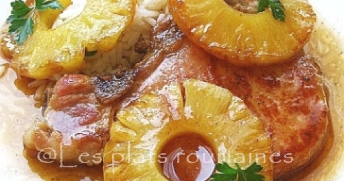 C tes de porc et ananas caram lis s recette par sara miki - Cuisiner les cotes de porc ...
