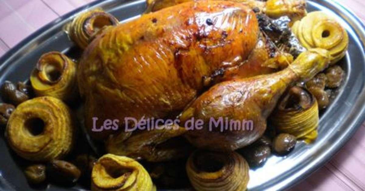 Chapon aux marrons farce la truffe noire recette par mimm - Cuisiner un chapon au four ...