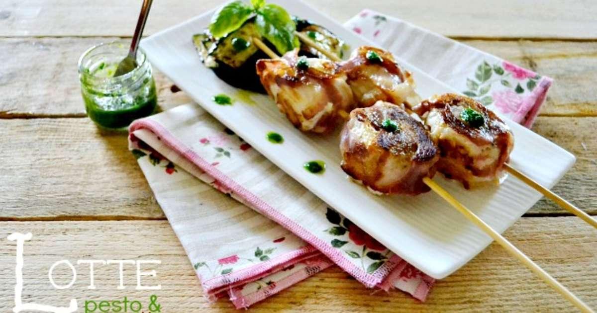 Plancha brochettes roul s de lotte au pesto et pancetta recette par kaderick - Temps de cuisson queue de lotte ...
