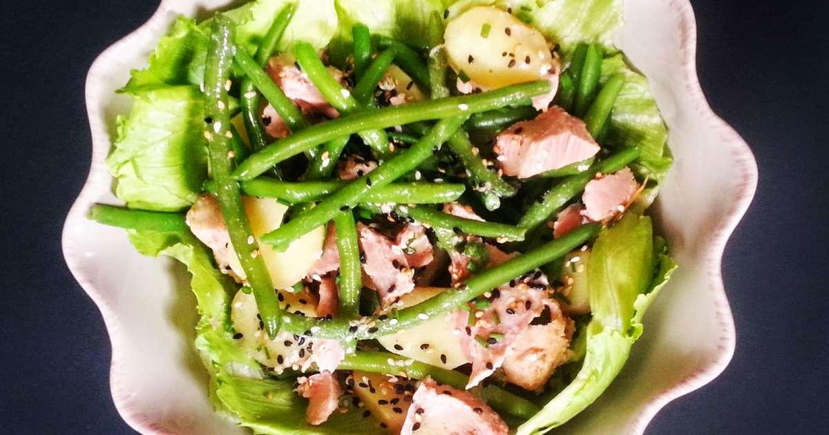 salade fra cheur au thon vinaigrette s same wasabi recette par mimi pinson. Black Bedroom Furniture Sets. Home Design Ideas