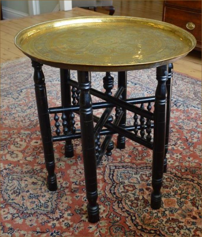 Antique Brass Top Folding Table
