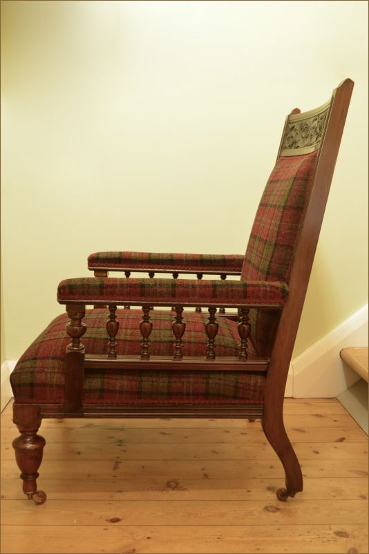 A lovely quality red walnut fireside chair, in the gothic revival style  with green man carving on the back rail. Dating from circa 1880. - Gothic Revival Fireside Chair - Belle Vue Antiques