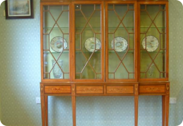 Edwardian satinwood breakfront display/bookcase