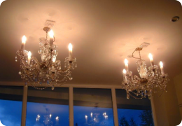 Pair of crystal chandelier lights