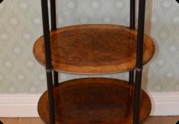Walnut, kingwood and amboyna cake stand/ whatnot