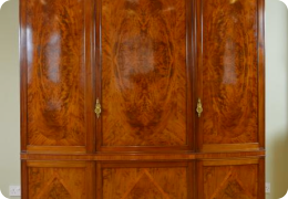 Flame mahogany triple wardrobe by Whytock & Reid