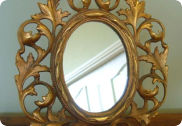 Victorian gilt metal easel mirror