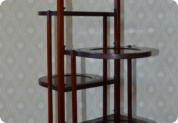 Mahogany four tier folding cake stand