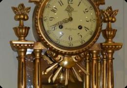 Swedish gilt wood cartel clock