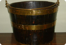 19th Century Oak and brass bound peat bucket