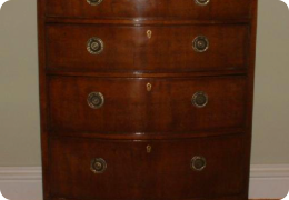 Small mahogany bowfront chest of drawers