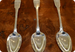 Three George III serving spoons