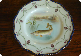 Royal worcester cabinet plate, fish  (pike)