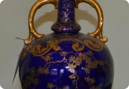 Cobalt blue & gilt bone china vase