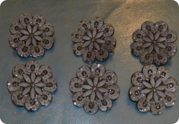 Six large French jet buttons