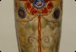 Royal Doulton stoneware vase, art nouveau