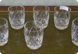 Six cut glass tumblers