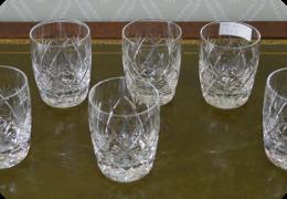 Six cut glass tumblers