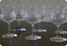 Set of 6 Edwardian cut glass wine glasses