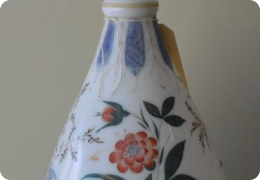 Milk glass overpainted vase, early 20th century