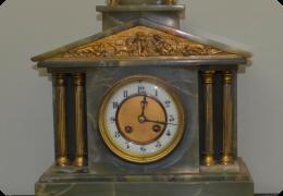 Green onyx mantle clock
