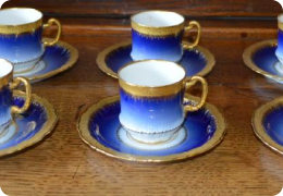Six French porcelain flo blue coffee cans and saucers